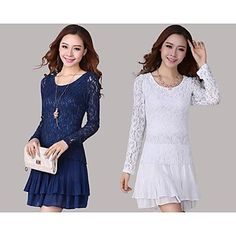 Women's Plus Size Chiffon Long Sleeve Round Collar Dress