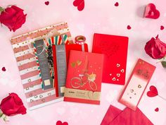Anyone can fall in love with this Valentine's Day Hamper Special with journals, notepads and other goodies. It makes the perfect gift that anyone will love! Ink Pads, Hamper, Washi Tape, All The Colors, Falling In Love, Valentines Day, Stationery, Dots, Gift Wrapping