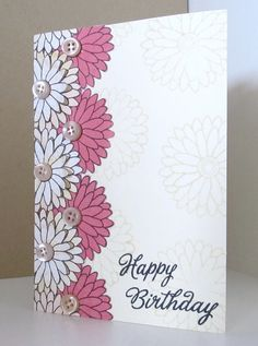 It's been a very long time since I've had time to do anything but admire the fantastic cards in the HA pool! Tried to use similar colours and the overlapping flowers from Kelly's inspiration photo. Stamps: CL340 (Birthday sayings) and CG133 (Color me flowers) Patterned paper: Basic Grey Porcelain Thanks for looking!
