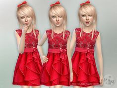 The Sims Resource: Red Holiday Party Dress by lillka • Sims 4 Downloads