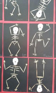 Esqueletos hechos con palillos. Giza, Preschool, Seasons, Halloween, Board, Human Body, Infant Crafts, Human Skeleton, Images For Good Night