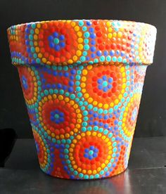Summer colors. Macetas pintadas a mano. Facebook: A'cha Pots.