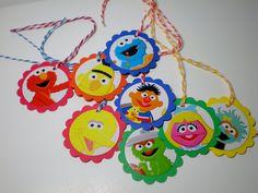 Sesame Street Tags for favor bags games birthday parties (8) MEDIUM. $3.00, via Etsy.