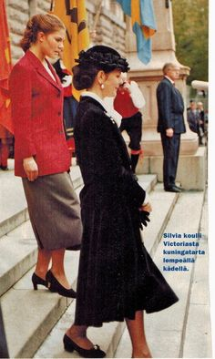 Carl XVI Gustaf, Queen Silvia and Princess Victoria.1996 State visit to Finland.