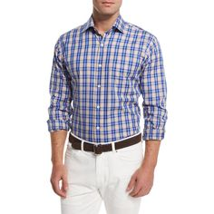 Peter Millar Prince Plaid Long-Sleeve Sport Shirt ($135) ❤ liked on Polyvore featuring men's fashion, men's clothing, men's shirts, men's casual shirts, navy, peter millar mens shirts, mens long sleeve casual shirts, mens navy blue shirt, mens sport shirts and mens cotton shirts