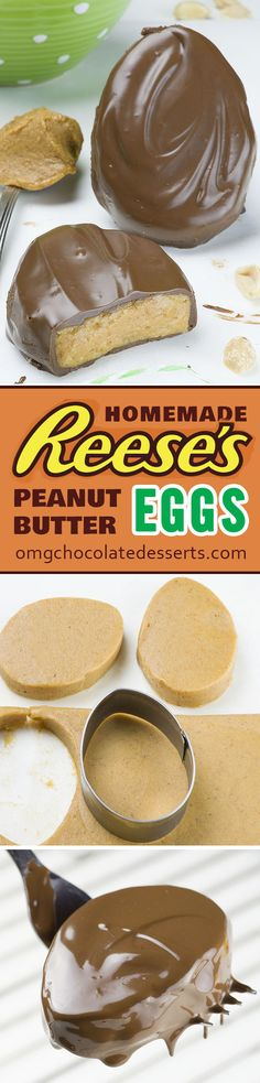 Homemade Reese Eggs - simple, quick and easy no-bake dessert recipe with peanut butter and chocolate. Homemade Reese Eggs - simple, quick and easy no-bake dessert recipe with peanut butter and chocolate. Dessert Oreo, Coconut Dessert, Brownie Desserts, Mini Desserts, Chocolate Desserts, Chocolate Chocolate, Chocolate Covered, Chocolate Cupcakes, Desserts Caramel