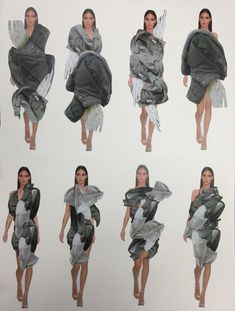 Paras's designs (based on draping work), Access to Fashion 4 weeks introduction project Fashion Illustration Portfolio, Fashion Design Sketchbook, Illustration Mode, Fashion Portfolio, Fashion Sketches, Sketchbook Layout, Textiles Sketchbook, Fashion Collage, Fashion Art