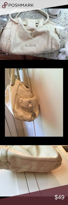 Cole Haan Ivory Slouch Hobo Nice thick ivory pebble leather slouch hobo tote. Guaranteed authentic Cole Haan, purchased at Saks. A few areas of wear but tons of life left. On interior zip pocket, two cellphone slots, and a pen slot. Clean interior. Cole Haan Bags Hobos