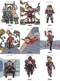 Tony Stark / Iron Man through the years. Iron Man Avengers, Marvel Avengers, Iron Heart Marvel, Marvel Jokes, Marvel Funny, Marvel Heroes, Lego Iron Man, Avengers Memes, Iron Man Kunst