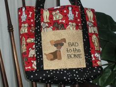 Personalized Dog Tote Bag Embroidered  Bad to the Bone