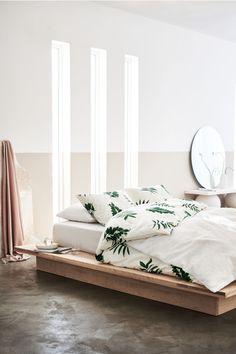 Bladmønstret sengesett - Hvit/Blader - Home All | H&M NO 1