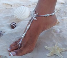 Items similar to Coral Barefoot Sandals, Starfish Barefoot Sandal, Bridal Barefoot Sandals, Bridal Foot Jewelry, Footless Sandal on Etsy Beach Wedding Reception, Beach Wedding Decorations, Wedding Day, Beach Weddings, Beach Wedding Nails, Garden Weddings, Wedding Receptions, Wedding Ceremonies, Destination Weddings