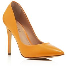 Charles by Charles David Pact Pointed Toe Pumps - Compare at $99 ($37) ❤ liked on Polyvore featuring shoes, pumps, heels, pointy toe pumps, charles by charles david shoes, orange pumps, orange heels shoes and orange shoes