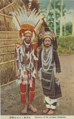 台湾・高砂族 盛装せるアミ族男女