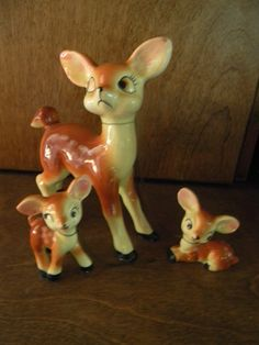 VINTAGE MAMA DEER AND TWO BABIES.....OLD ---REALLY NICE | eBay