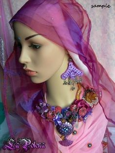 PANDORA Purple hand dyed beaded lace EARRINGS Lilac di LaPolena