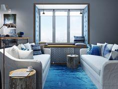 Серо-синее омбре - 3D-проект компактного пространства | PINWIN - конкурсы для архитекторов, дизайнеров, декораторов