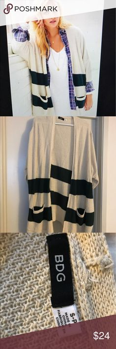 Comfy BDG striped cardigan Never worn BDG cardigan. Green and cream stripped. 74% cotton, 26% acrylic. BDG Sweaters Cardigans