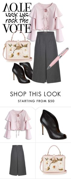 """Rock the Vote in Style"" by blueviolette on Polyvore featuring moda, Chicwish, Gianvito Rossi, Yves Saint Laurent, Dolce&Gabbana, ICE London e rockthevote"