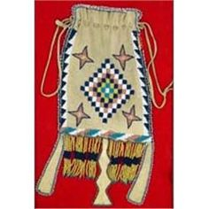 "Apache Indian Beaded Bag. Beaded on one side. 10"" x 5""."