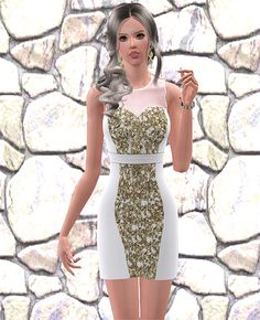 Sequin dress with transparent mesh over the shoulders - Social Sims