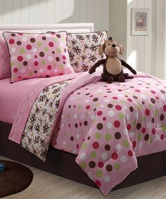 Girls Kids Bedding - Reversible Monkey Bed in a Bag Multi-Color - Boys & Girls, Kids & Teen Bedding - Bedding Sets Bed Bath & Beyond, Girl Room, Girls Bedroom, Bedroom Decor, Bedrooms, Bedroom Ideas, Child Room, Bedroom Styles, Baby Room