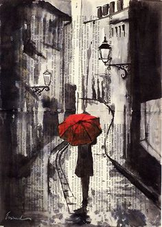 Letters on the background gives the feeling of raining with the girl holding red umbrella.