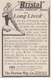 Free Vintage Clipart, Vintage Magazine Ads and Vintage Artwork Perfect for Home & Man-Cave Decor: Vintage 1906 Bristol Steel Fishing Rods Poles Original Print Ad Sports Outdoors