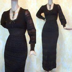 Vintage 70s Metallic Lurex Knit Maxi Dress by labellevintage, $125.00