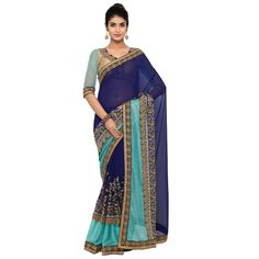 Blue Colored Embroidered Faux Georgette Party Wear Saree Triveni