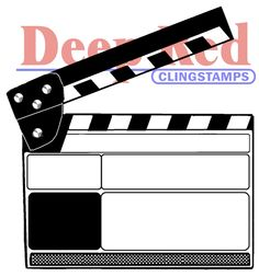 Deep Red Stamps Cling 2-Inchx2.2-Inch-Movie Clapper
