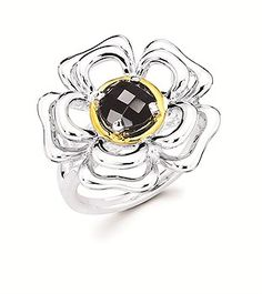 Charming Black Onyx Ring with a Flower Design set in Sterling Silver with 18k Yellow Gold Bezel.