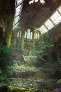 architecture decay ruins abandoned buildings places-but becomes sacred spaces to Mother Nature Abandoned Buildings, Abandoned Mansions, Abandoned Places, Abandoned Castles, Abandoned Library, Ancient Buildings, Haunted Places, Fantasy World, Fantasy Art