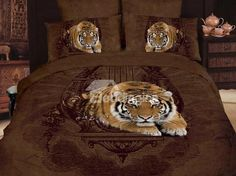 3D Royal Ink Painting Reactive Leopard Printing Cotton 4 Piece Bedding Sets