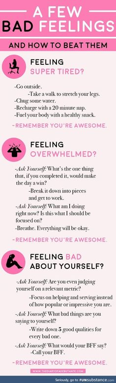 A few bad feelings– and how to beat them. Use this positive thinking chart for … A few bad feelings– and how to beat them. Use this positive thinking chart for a boost of positivity whenever you're having a bad day at work! The Words, Bad Feeling, Feeling Happy, How To Feel Happy, Happy At Work, When Youre Feeling Down, Feeling Depressed, Stay Happy, Make Me Happy