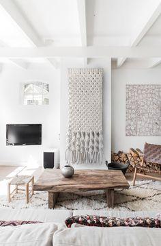 Textile art can soften a hard-edge modern space. Macrame Hanging, Backdrop, Room Divider