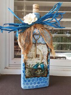 Decorated liquor bottle painted/embellished