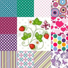 Collection seamless colorful patterns — Stock Illustration #23140086