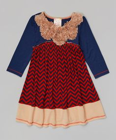 Another great find on #zulily! Navy & Taupe Zigzag Empire-Waist Dress - Girls by Pink Vanilla #zulilyfinds