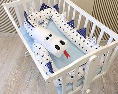 Baby crib bumper GREY BLUE GREEN Kind Dragon Pillow Handmade