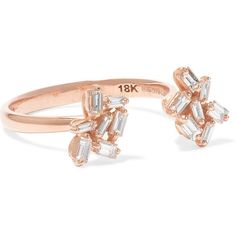 Suzanne Kalan 18-karat rose gold diamond ring (30 230 ZAR) ❤ liked on Polyvore featuring jewelry, rings, rose gold, rose gold stackable rings, cluster ring, 18k rose gold ring, diamond rings and baguette ring