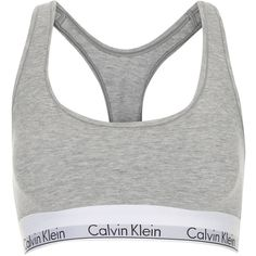 TOPSHOP Modern Bralet by Calvin Klein (57 CAD) ❤ liked on Polyvore featuring intimates, bras, tops, underwear, lingerie, grey marl, topshop, grey bra, racer back bra and lingerie bras