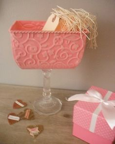 Pink Wedding candy buffet container perfect by MamaLisasCottage, via Etsy.