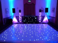 Our elegant wedding disco setup complimenting a white led dancefloor!  (Venue: Theobalds Park, Herts)