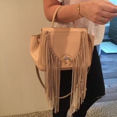 "Paula Cademartori Italian handbag Abela fringe pale nude bag. Only used 2 times - Can be worn 4ways: on forearm on shoulder handheld with hand strap or as cross body bag. Detachable shoulder strap, interior zip pocket / MADE IN ITALY.  10.5""L X 5""W     Comes with cloth bag and authenticity card. Paula Cademartori Bags Shoulder Bags"