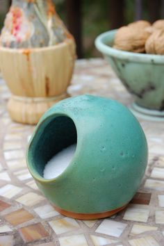Salt Pig or Salt Cellar in Turquoise- Made to Order