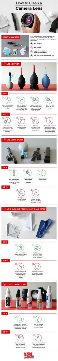 Photography Gear Guide: How to clean a camera lens. Infographic guiding you through the equipment needed, and process, to clean a DSLR camera lens Photography Cheat Sheets, Photography Basics, Photography Lessons, Photography Camera, Photography Equipment, Photography Business, Photography Tutorials, Digital Photography, Photography Backdrops
