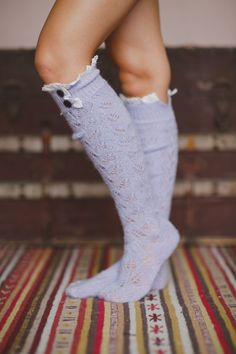 Knee Socks, Lace Socks, Stocking Stuffer, Best Seller, Knitted, Fashion Accessories, For Her, Gifting, Lace Trim Socks in Lilac (BS-05F14)