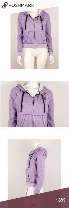 Victoria's Secret Purple Love Pink Hoodie Jacket Victoria's Secret Pink Purple Love Pink Hoodie Jacket Full Zip Up Size Small S. minimal fading  Bust:19  Waist: 18  Length: 22 PINK Victoria's Secret Jackets & Coats