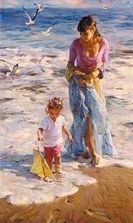 Madre e Hija en la Playa